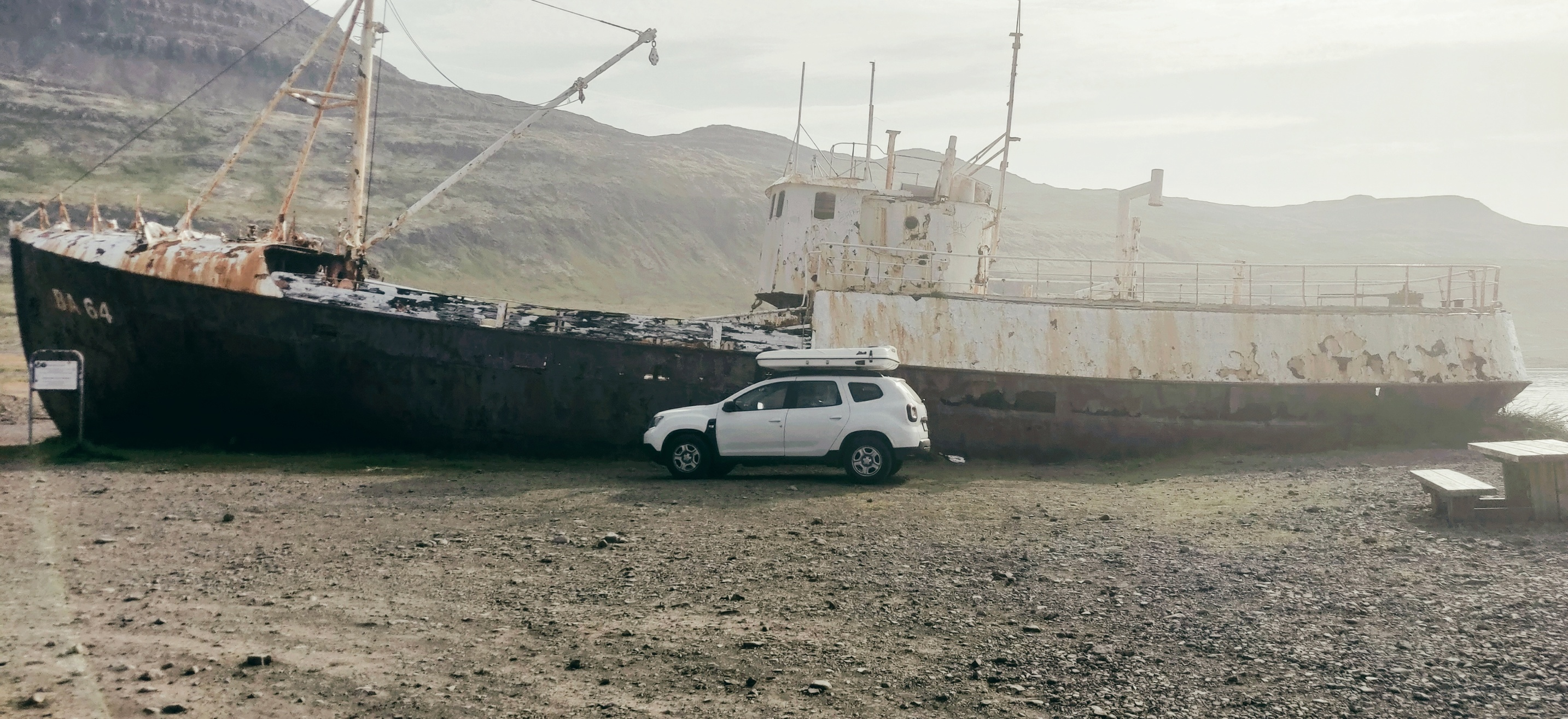 Dacia Duster with roof top tent in wetfjords iceland